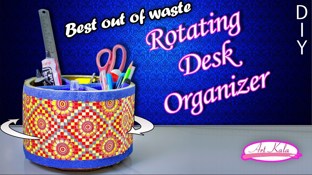 How to make rotating desk organizer  desk organizer