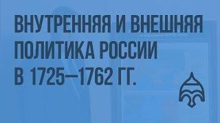 Внутренняя и внешняя политика России 1725 - 1762 гг. Видеоурок по истории России 10 класс