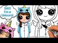 How to Draw Cute Girl in Unicorn Onesie Easy