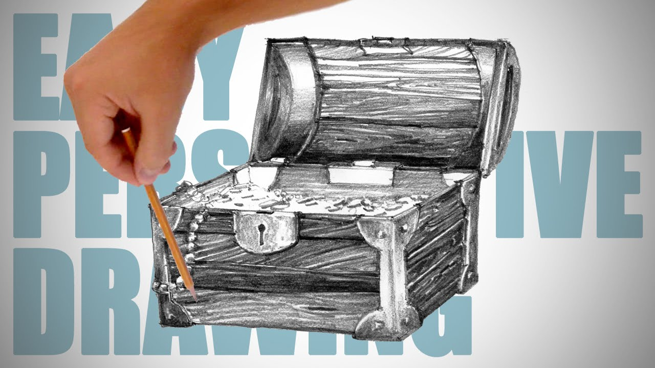 How to draw a pirate treasure chest - Easy Perspective ...