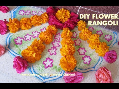 navratri special rangoli- DIY NEW Flower Rangoli Decoraion Video