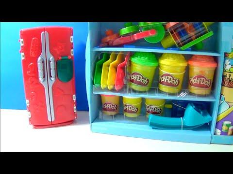 Unboxing PlayDoh SuperMarket Store Playset Food Refrigerator RARE Set Fruit Ice Cream