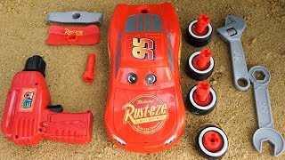 Assemble Disney Cars 3 Lightning Mcqueen racing cars For Children | Build and Play Toys for Kids