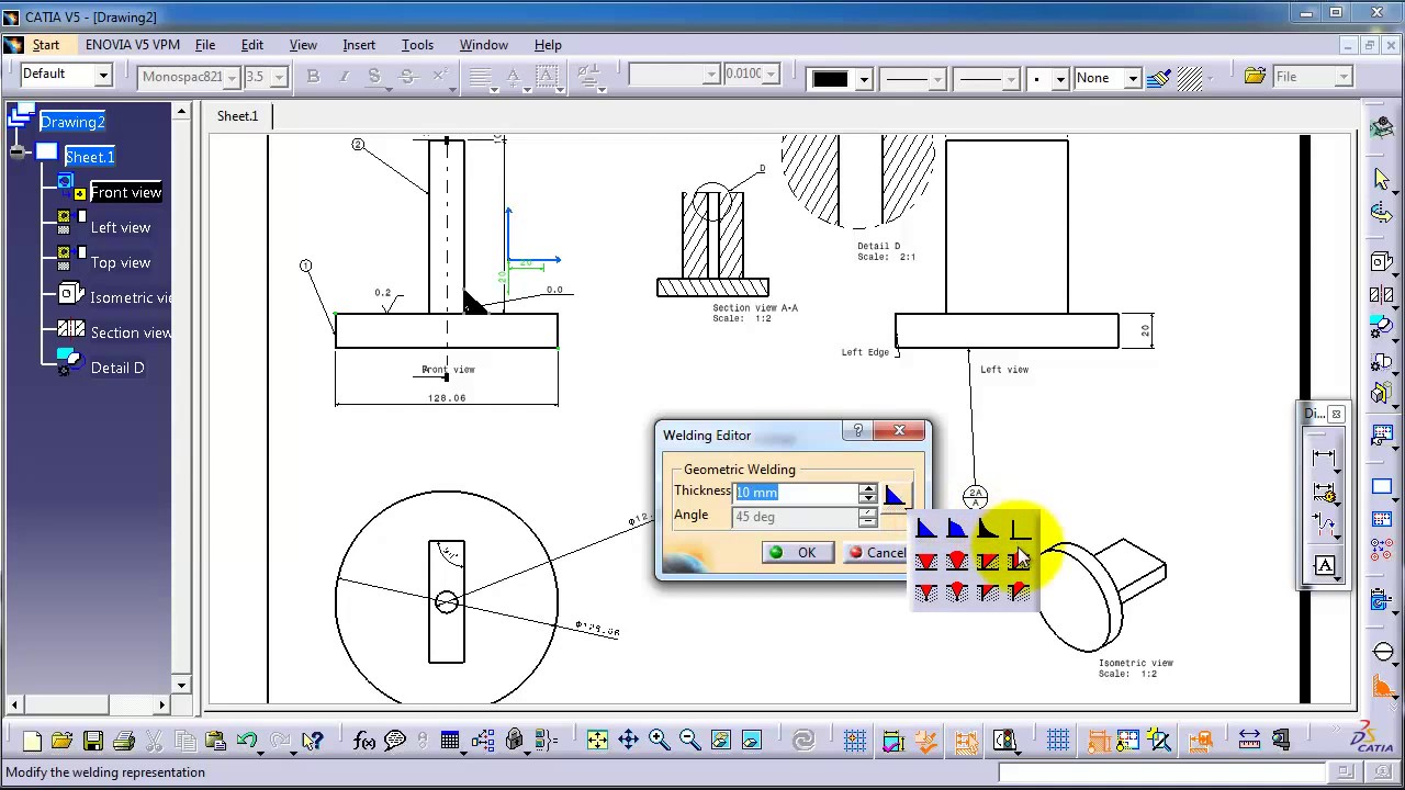 113 catia drawing tutorial weld type tool youtube 113 catia drawing tutorial weld type tool buycottarizona Image collections