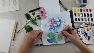 "Онлайн-мастер-класс ""Рисуем цветы. Акварель"""