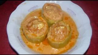 Кабачки фаршированные в духовке с мясом и рисом. Рецепт с обалденно вкусной подливкой.