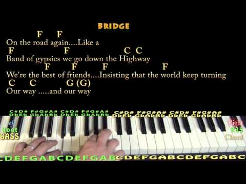 On the Road Again (Willie Nelson) Piano Cover Lesson in C with Chords/Lyrics