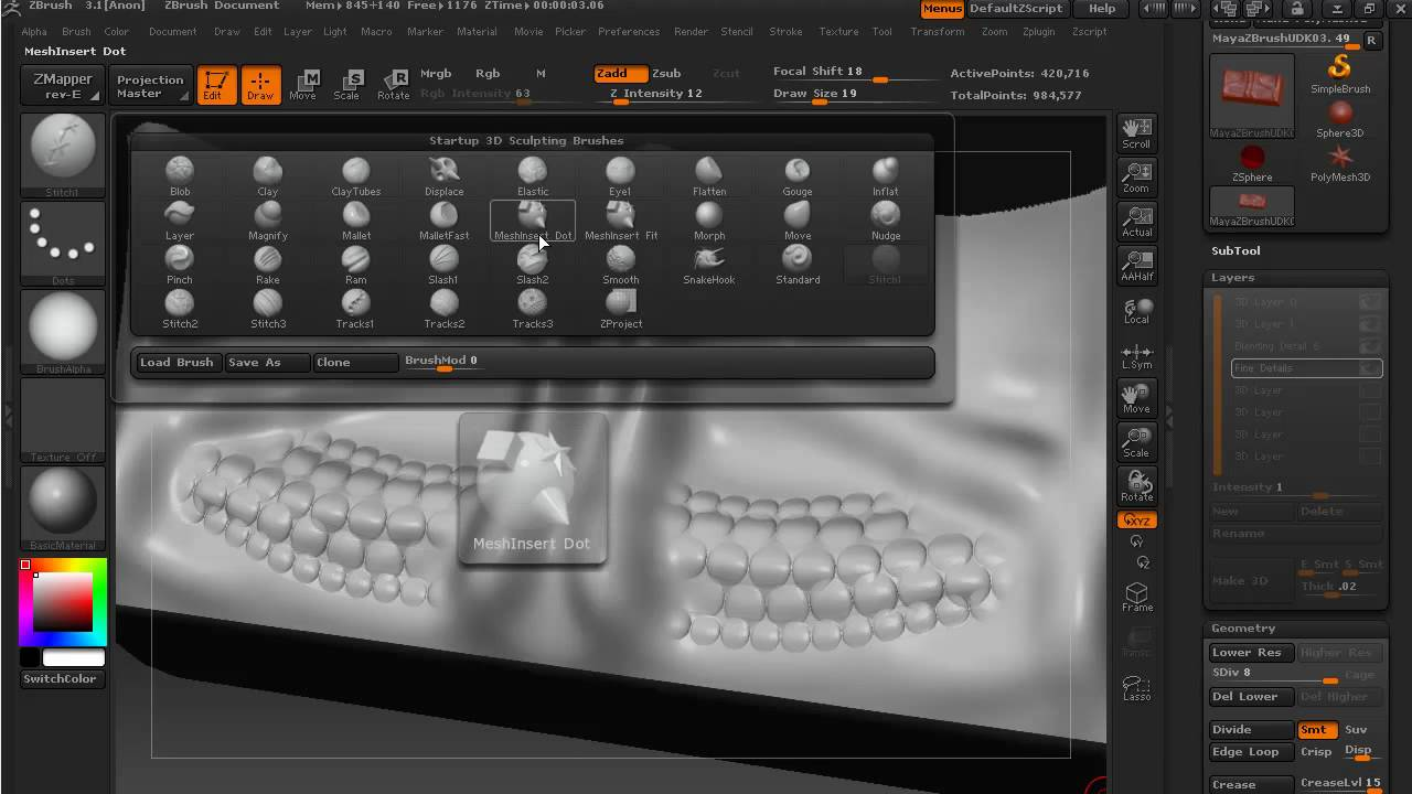 Maya to ZBrush to UDK - Part 14 - Sculpting finer details (and the Stitches  brush)