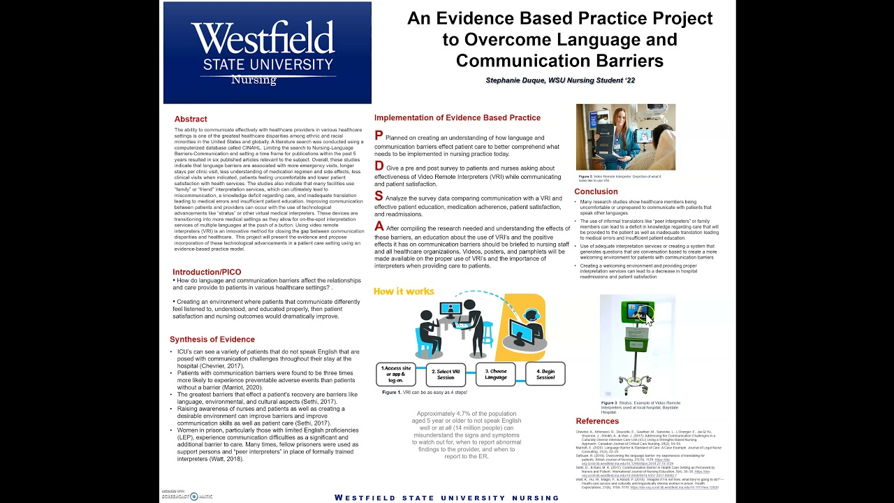 An Evidence Based Practice Project to overcome Language and Communication Barriers