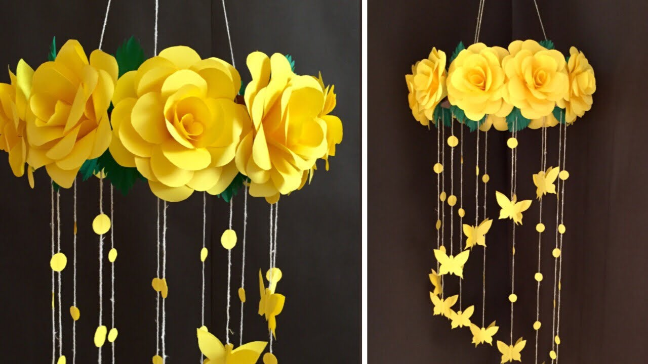 Paper Rose Flower Wall hanging | Home Decor Ideas - YouTube on Hanging Wall Sconces For Flowers id=35698