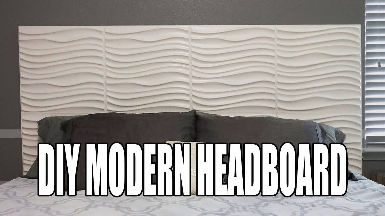 Diy modern headboard 3d wall panel headboard youtube for Modern headboard diy