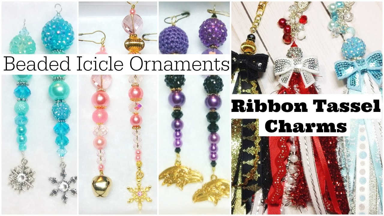 Ice cycle ornaments - Beaded Icicle Ornaments Ribbon Tassel Charms