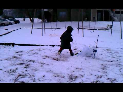 AIM TKD #3 side kick to a senior blue snowman.