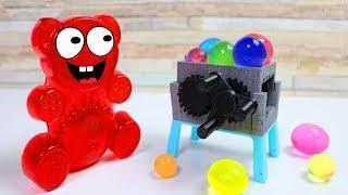 Lucky Bär schreddert Aqualinos in seinem Schredder aus dem 3D Drucker