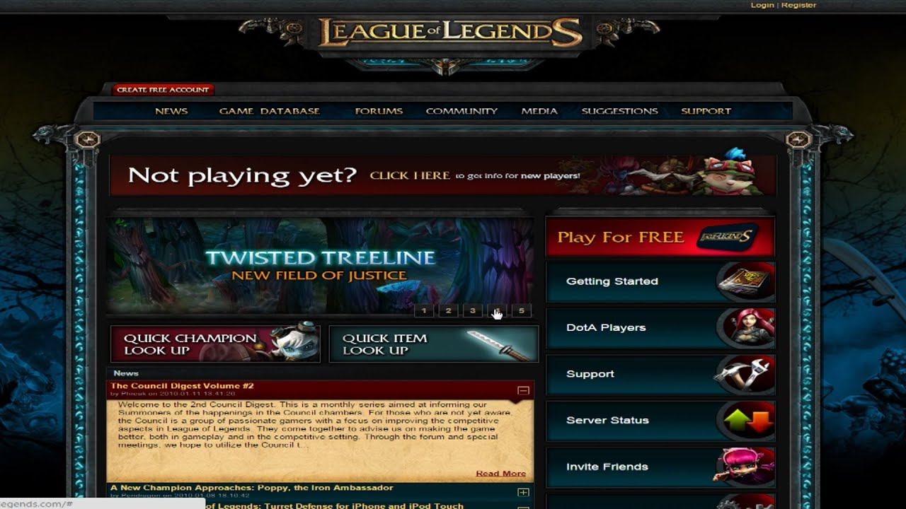 League Of Legends Website