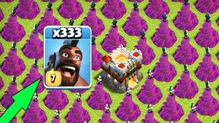300 Max Hog Rider VS 300 Wizard Tower Stratgy   COC Mod Server Funny GamePlay