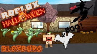 HALLOWEEN IN BLOXBURG HOUSE DECORATING + GETTING COSTUME & TRICK OR TREATING ROBLOX ROLEPLAY