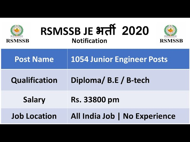 1054 Junior Engineer Jobs 2020 - Salary: Rs.33800 | All India Job | Govt Jobs / RSMSSB Jobs 2020