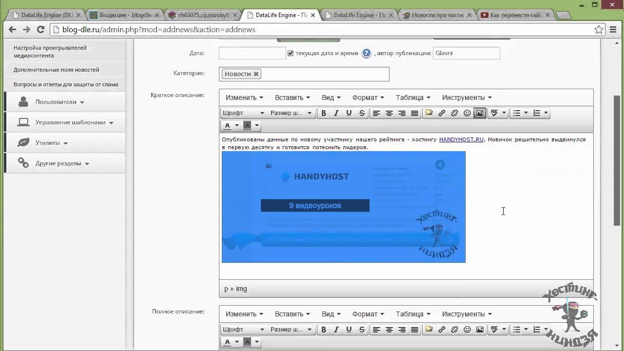 Как сделать сайт в dle бесплатный хостинг с поддержкой чата