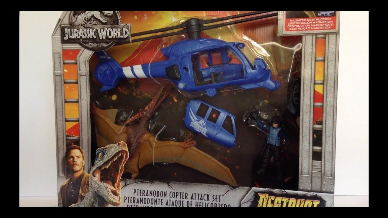 Jurassic World Destruct-A-Saurs Pteranodon Copter Attack /& Velociraptor BUNDLE