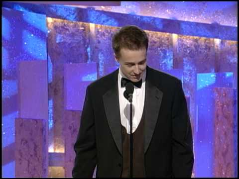Actor Edward Norton receiving his first Golden Globe Award for movie Primal Fear