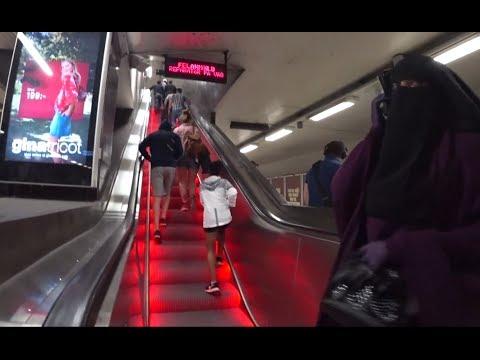 Sweden, Stockholm Central, Tunnelbana, Metro, U-Bahn - broken rainbow escalator