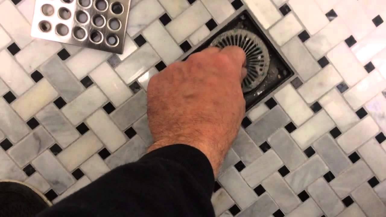 Hair-trap drain in tile shower! - YouTube
