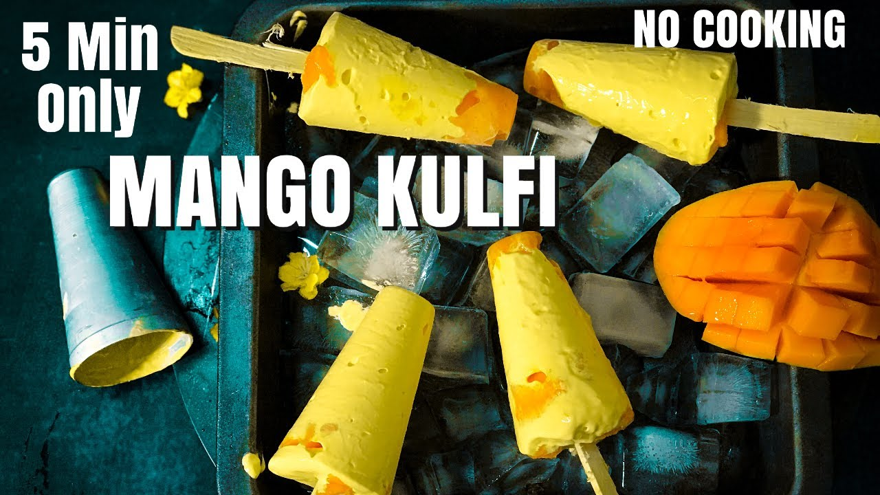 MANGO KULFI in 5 minutes 3 Ingredient KULFI | बिना गैस जलाये बनाए | No Cook No Churn Mango Ice cream