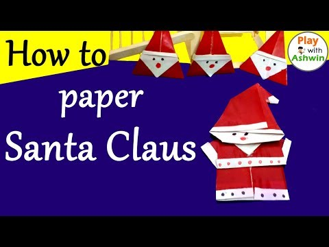 How to make Santa Claus from the paper by PlayWithAshwin | New Year Origami