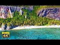 4K Ultra HD Drone Video with Ocean Sounds and Relaxing Music - Fly Away to a Tropical Island!