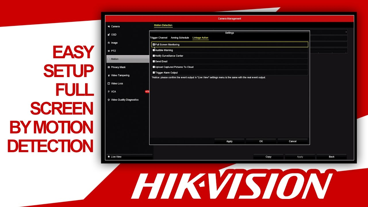 Hikvision - Setup Full Screen on Motion Detection (Quick & Easy) HDSECURE