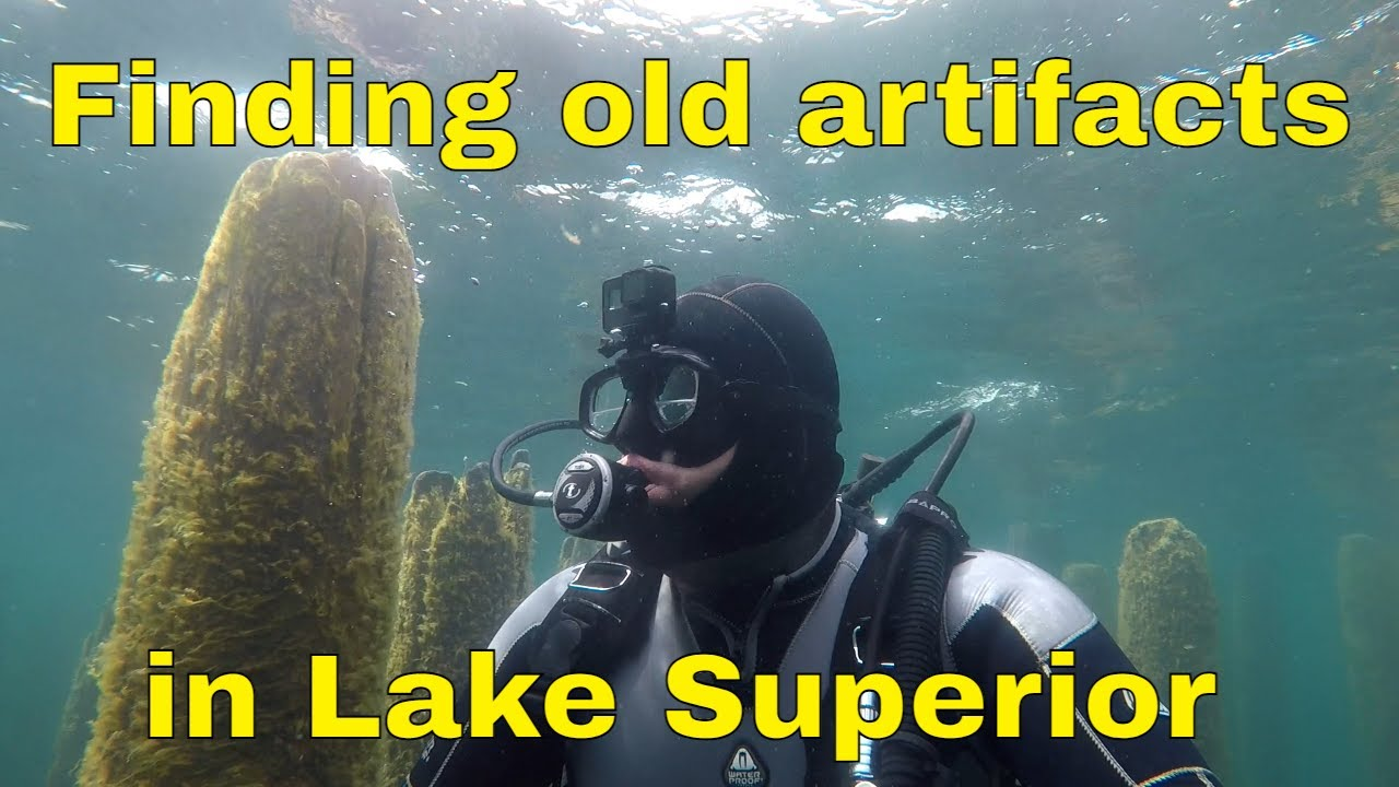 Finding cool artifacts on today's dive in Lake Superior