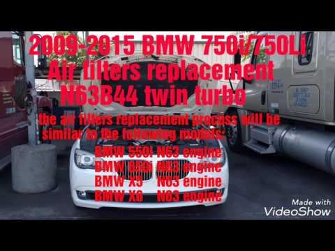 2009 - 2015 BMW 750i 750Li air filters replacement F01 F02 N63 engine