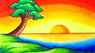 nature easy drawing simple scenery draw colored beginners sunset super step