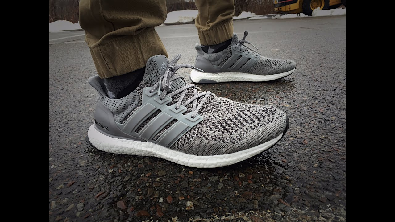 Adidas Ultra Boost Grey On Feet