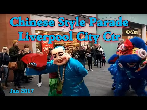 Chinese Dragon parades through Liverpool City Centre