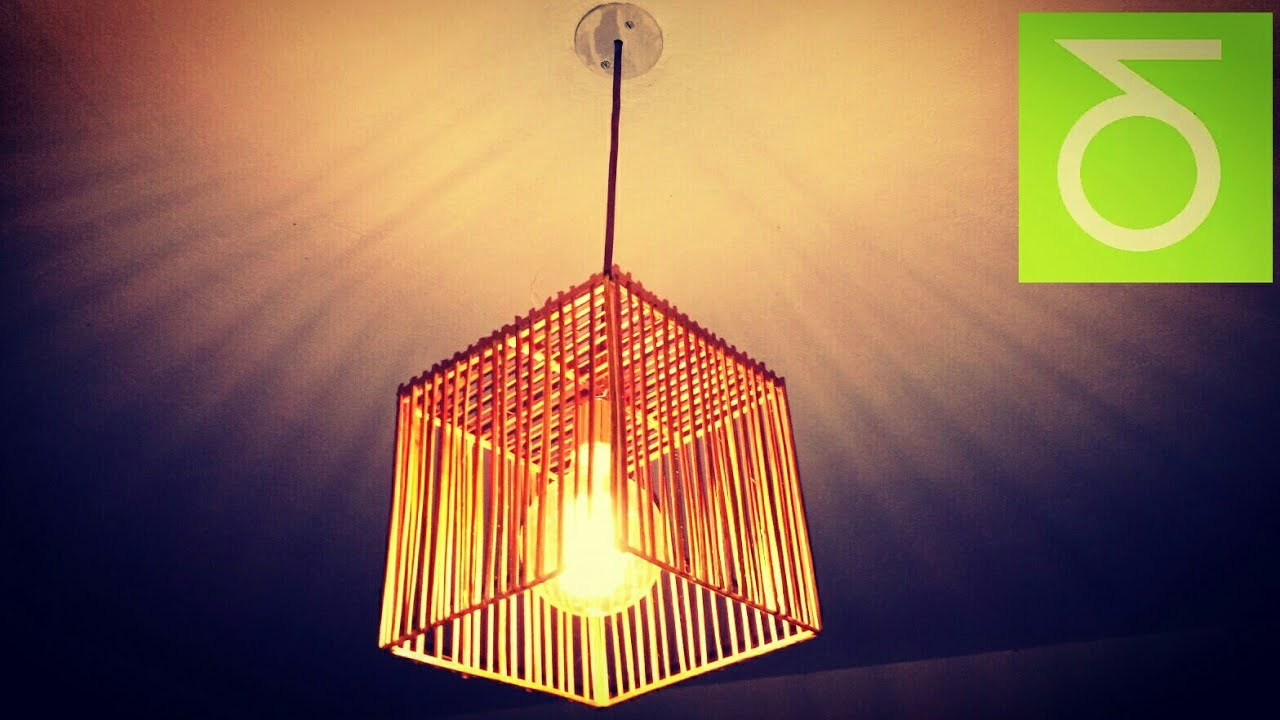 How To Make A Bamboo Sticks Cage Ceiling Lamp Youtube