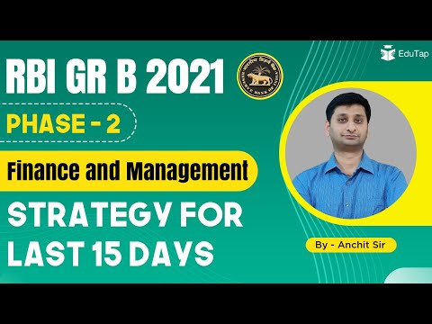 RBI Grade B 2021 | Phase 2 | Finance and Management | Strategy for Last 15 days