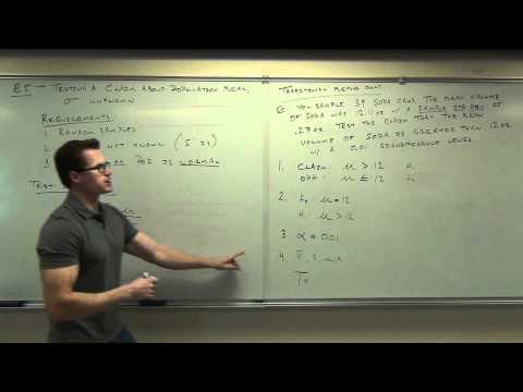 Statistics Lecture 8.4: Hypothesis Testing for Population Mean. Population Std Dev is Unknown.