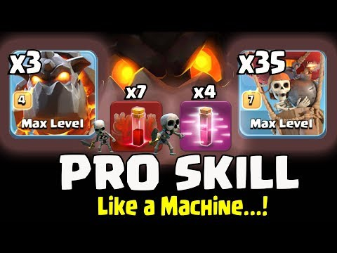 7 SKELETON SPELL+ 3 LAVA+ 35 BALLOON+ 4 HASTE =PRO SKILLS Like A MACHINE TH11 BEST WAR STRATEGY 2018