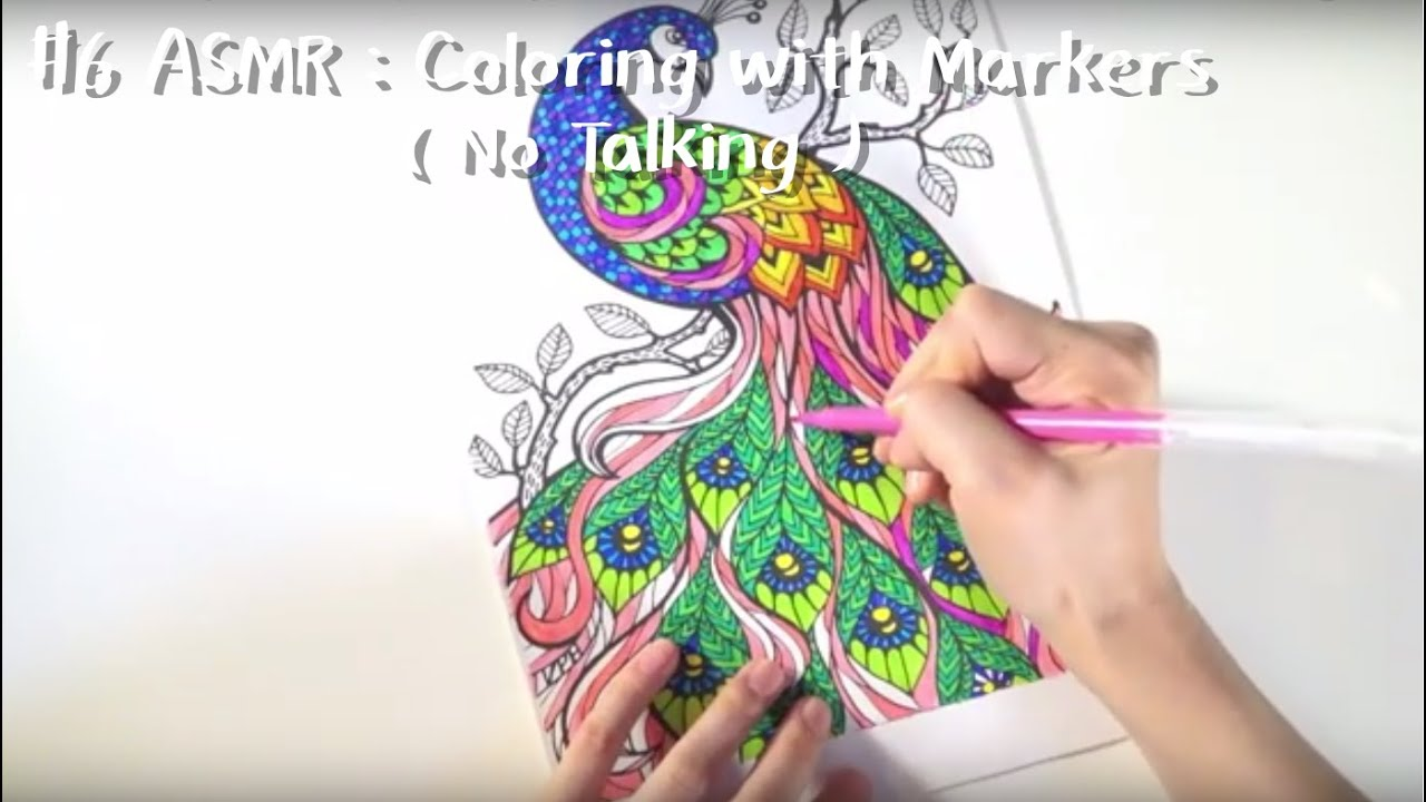 6 ASMR : Coloring with Markers ( No Talking ) - YouTube
