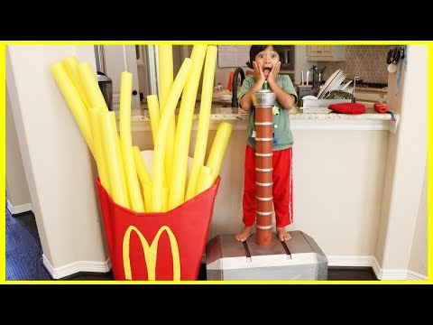 Thumbnail: Kid eats Giant McDonald's Fries Accident! Pretend Play Food with McDonald's Drive Thru Prank