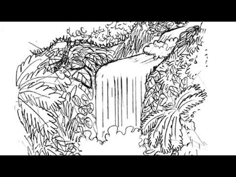 Desenhando Uma Cachoeira Com Tiburcio Youtube