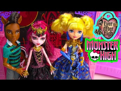 Monster High Draculaura Ever After High Blondie Lockes Thronecoming Clawd Wolf Playset Doll