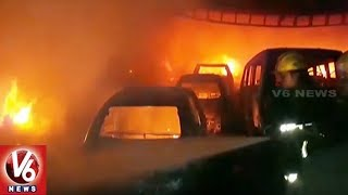 A major fire accident occured at a car garage in Kamatipura area of...