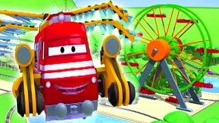 Vláček Troy a vzdušný vlak ve Městě Aut/ Animák o autech a náklaďácích pro děti