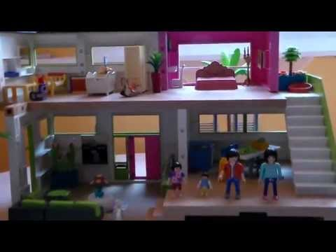 playmobil les nouveaux voisins s 39 installent dans la maison moderne 5574 youtube. Black Bedroom Furniture Sets. Home Design Ideas
