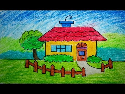 how-to-draw-scenery-of-house,-drawing-&-coloring-|-drawing-for-kids,-children's-&-beginners