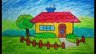 How to draw scenery of house, drawing & Coloring | Drawing for Kids, children's & beginners