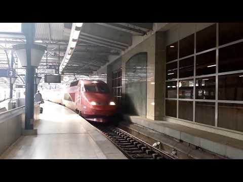 High speed Train Thalys arriving Brussels South Midi Station from Amsterdam